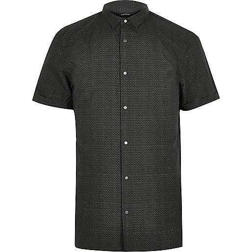 Dark green print short sleeve shirt