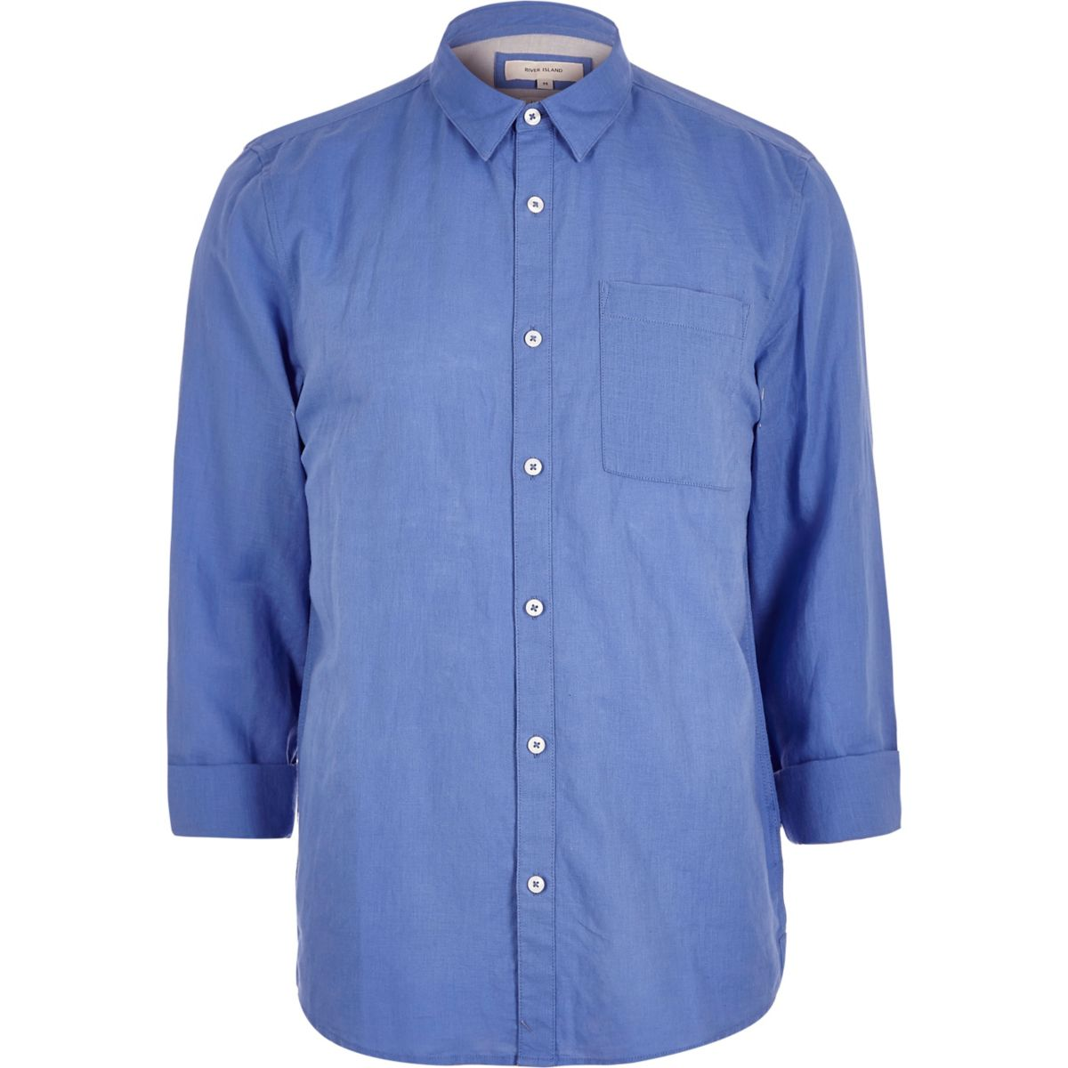Blue linen-rich shirt