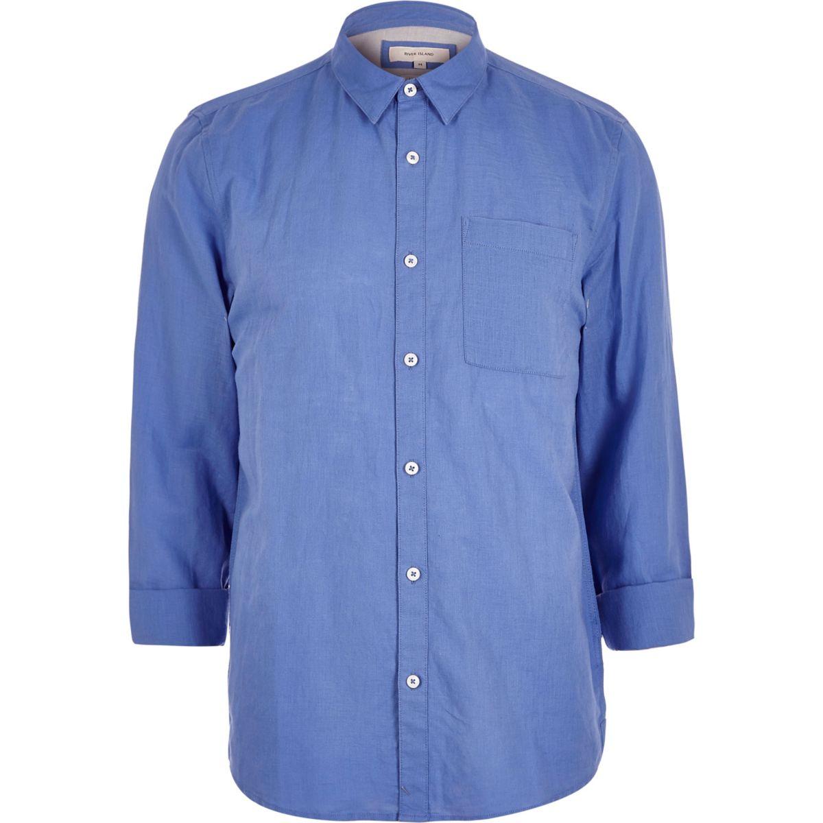 Blaues Leinenhemd