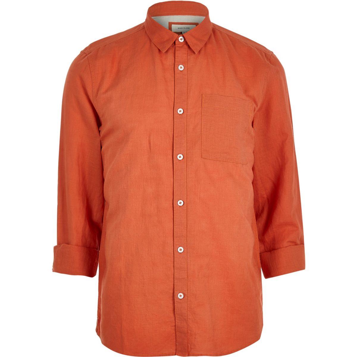 Red linen-rich shirt