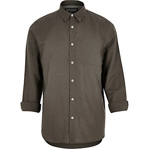 Khaki linen-rich shirt