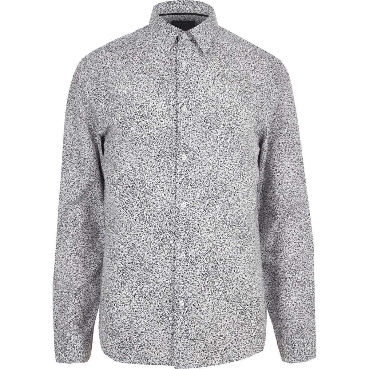 White ditsy print slim shirt