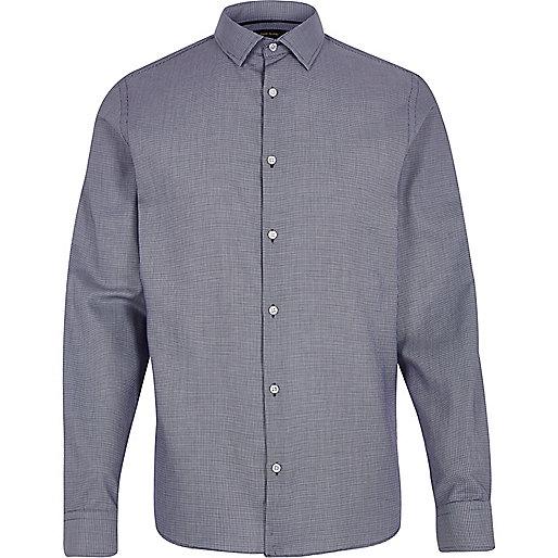 Navy  jacquard slim fit shirt