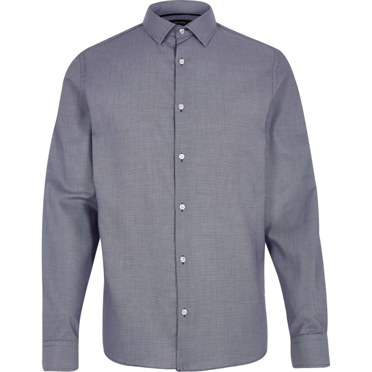 Navy  jacquard slim fit shirt