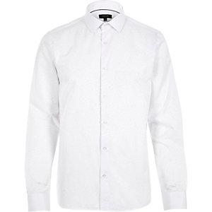 White jacquard slim fit shirt