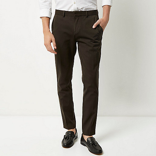 Khaki skinny fit trousers