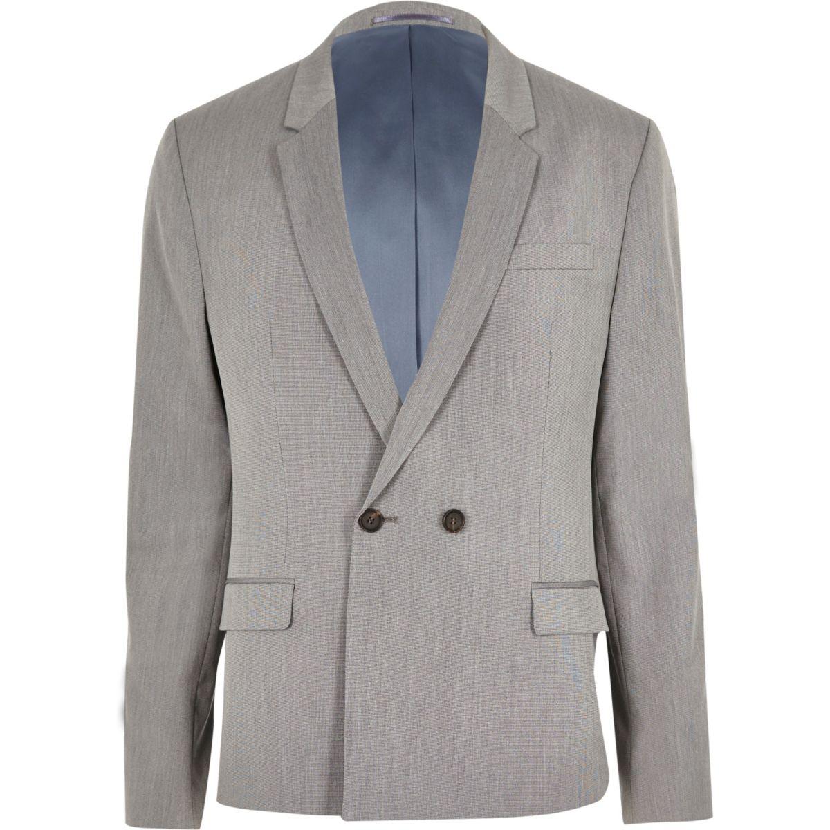 Veste de costume grise croisée skinny