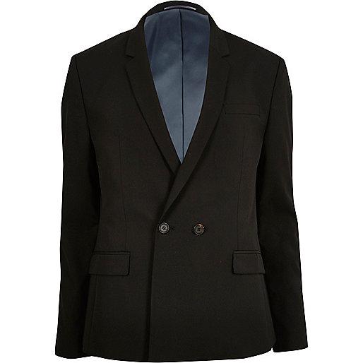 Schwarze, zweireihige Anzugsjacke