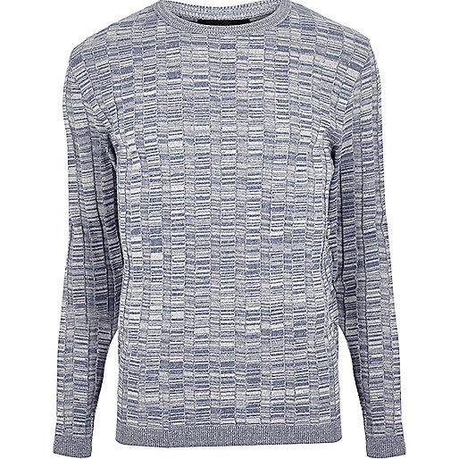 Light blue wide ribbed slim fit jumper