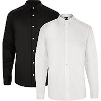 White and black formal slim fit shirt pack