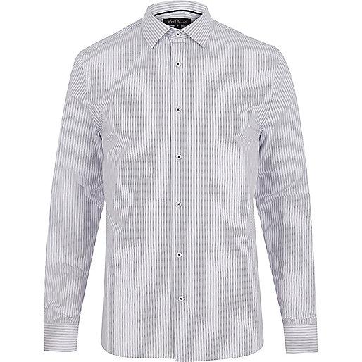 Grey striped long sleeve shirt
