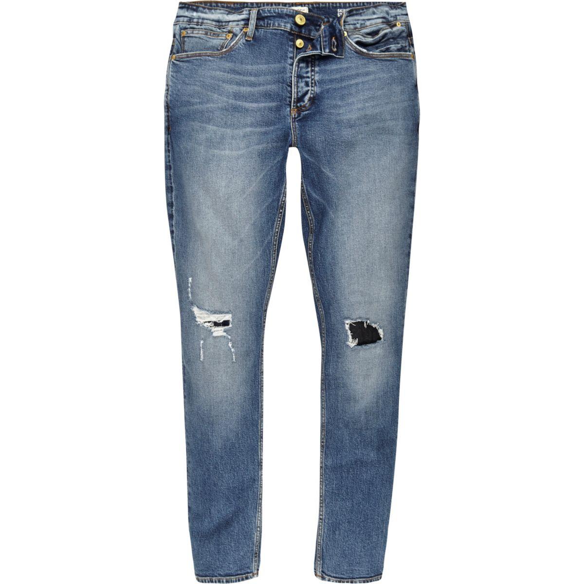 Sid – Jean skinny à délavage moyen bleu avec déchirures