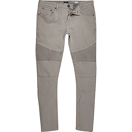 Light grey Sid skinny biker jeans