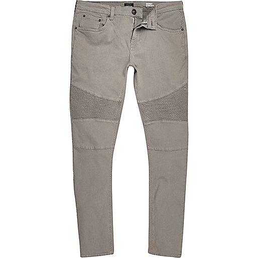 Jean skinny sid gris clair style motard jeans promos - Jean gris clair homme ...
