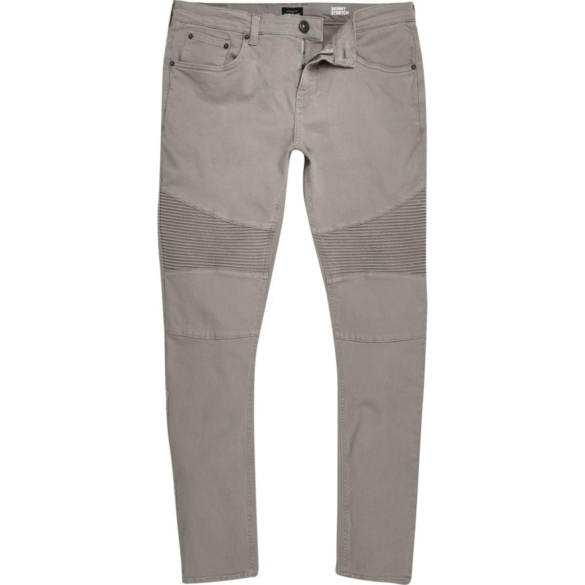 Light grey Sid skinny biker jeans