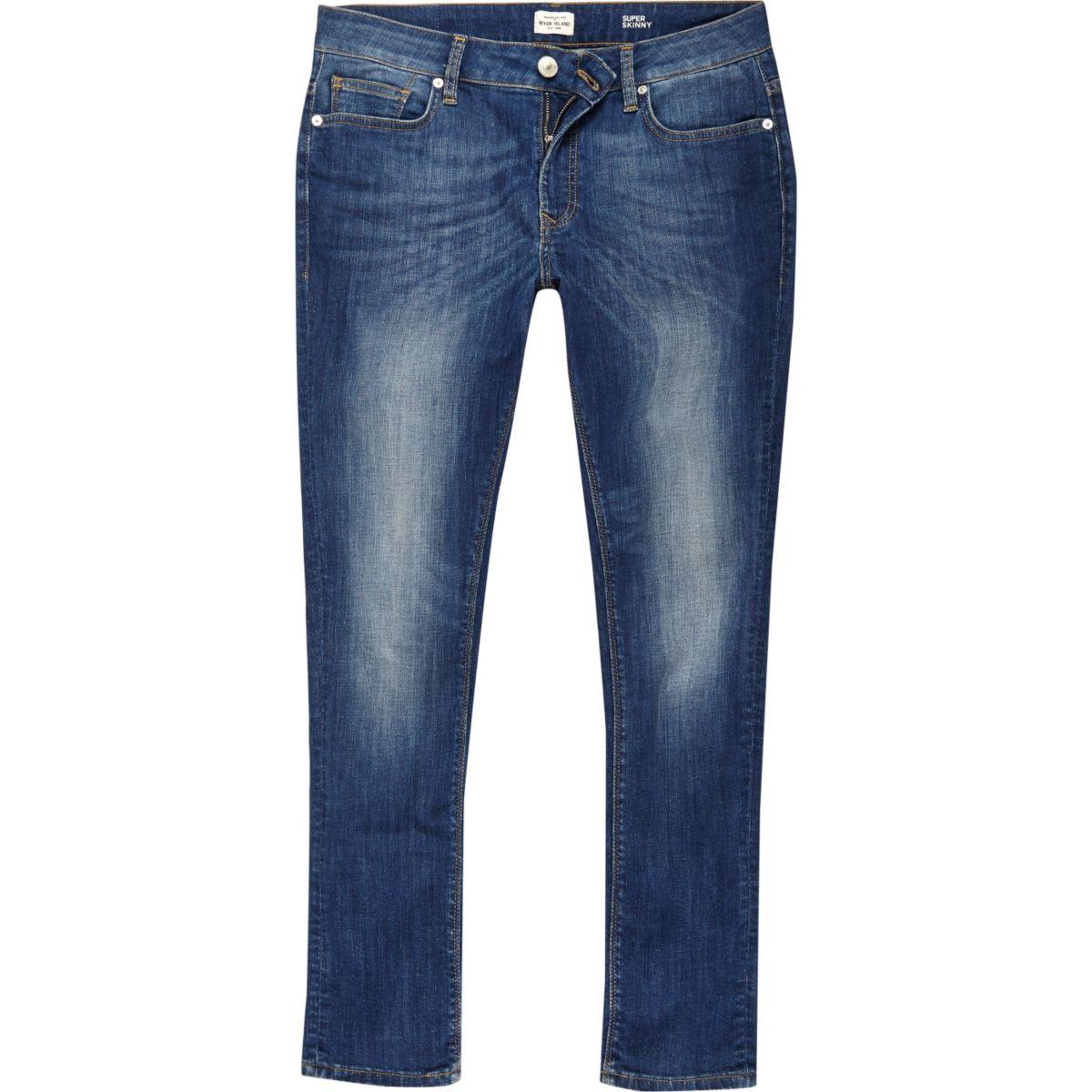 Jean super skinny Danny mi-délavé bleu