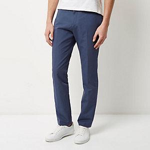 Blue smart slim elastic waist pants