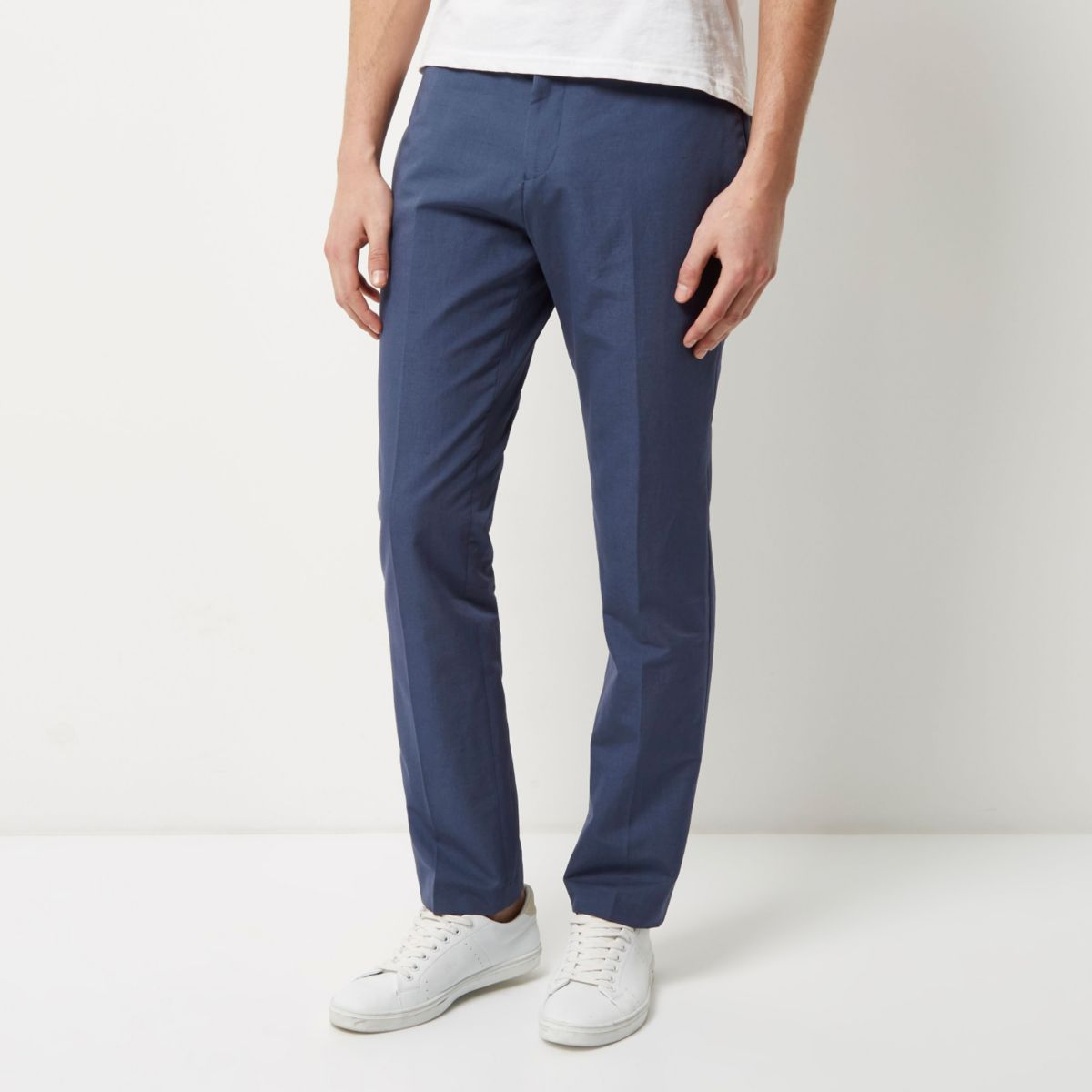 Blue smart slim elastic waist trousers