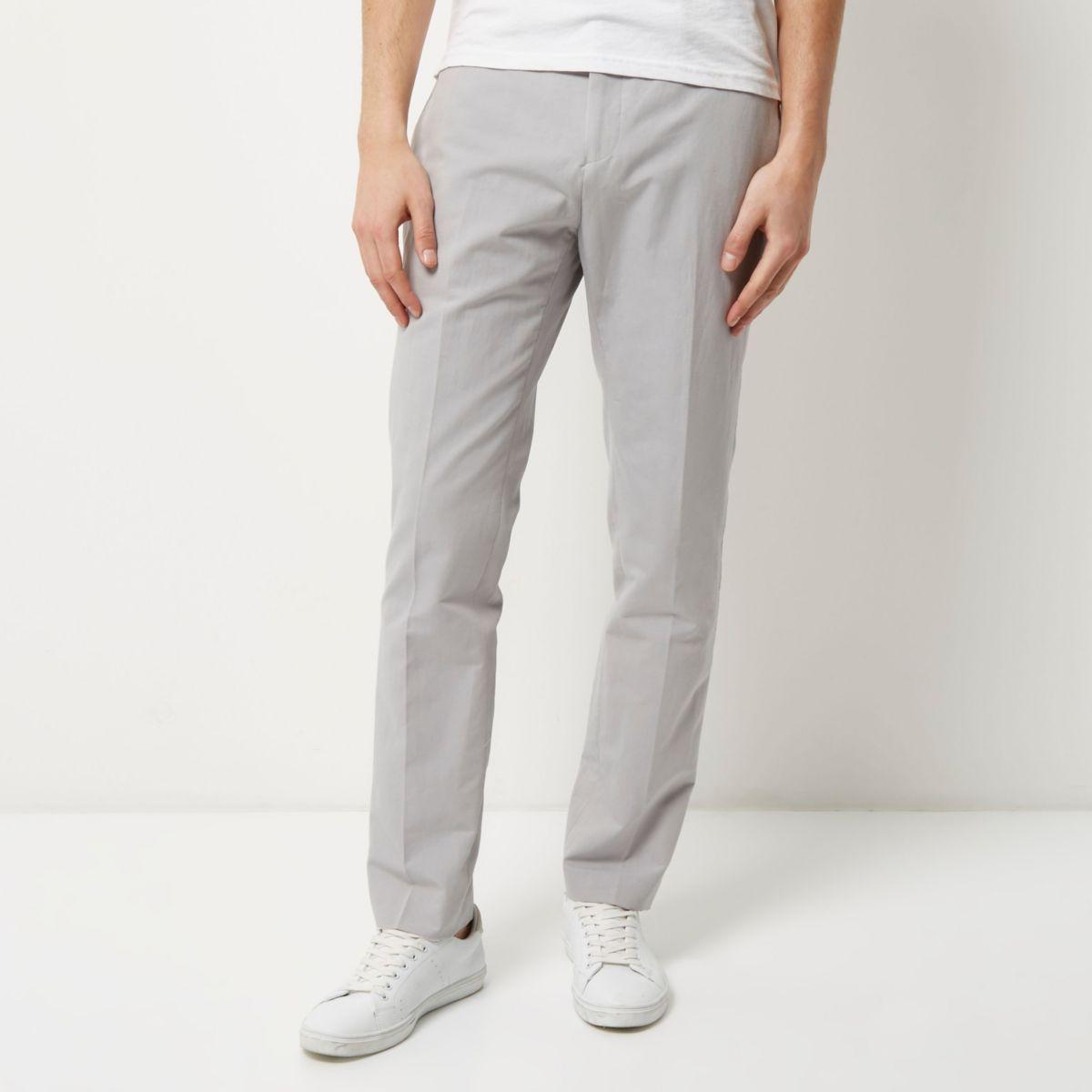 Grey smart slim elastic waist trousers