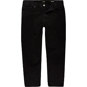Black Dean cropped straight jeans