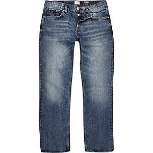 Dean mid blue wash rechte jeans