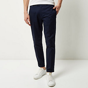 Navy cropped skinny trousers