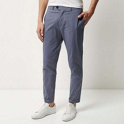 Grey cropped skinny trousers