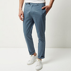 Light blue cropped skinny trousers