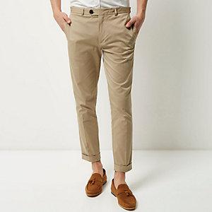 Beige cropped skinny pants