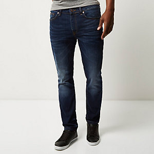 Dylan - Slim-fit jeans in donkerblauwe wassing