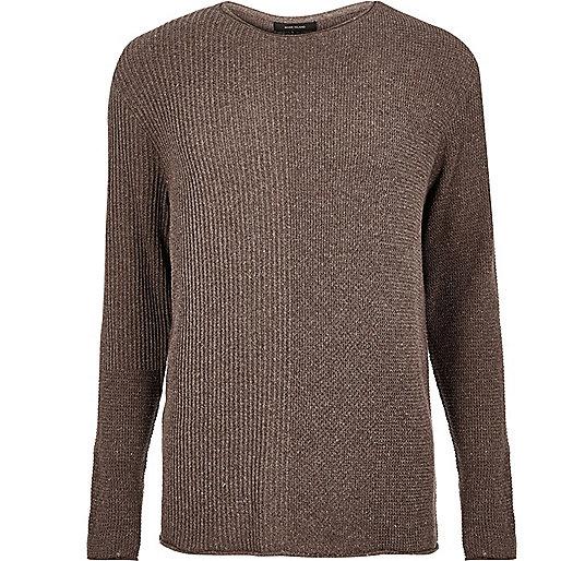 Brown stitch block jumper