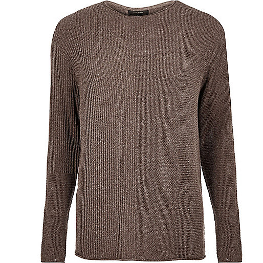 Brown stitch block sweater