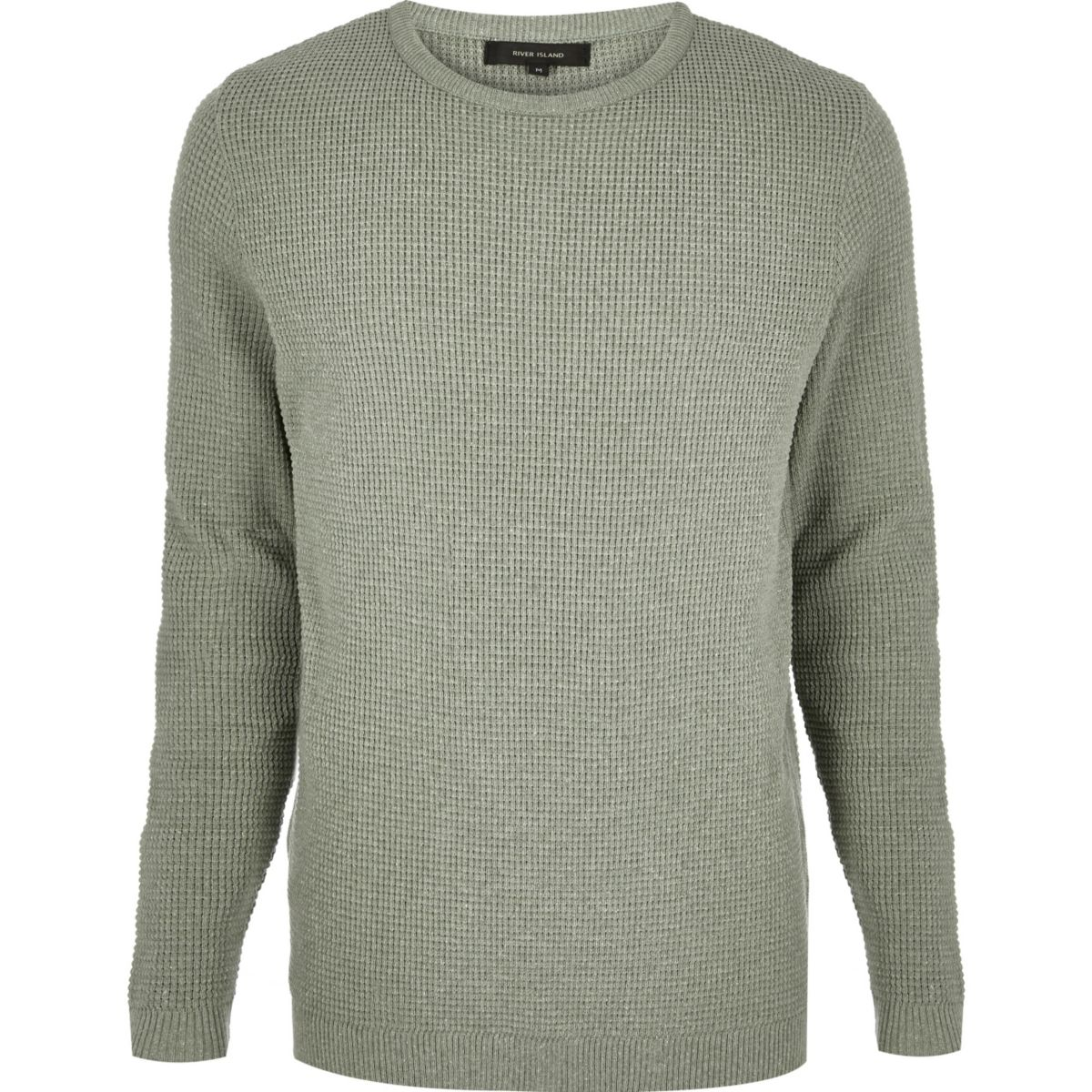 Green textured waffle sweater