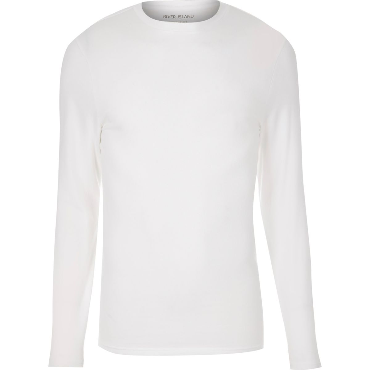 White muscle fit long sleeve t shirt t shirts vests for Long sleeve fitted tee shirt