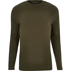 Langärmliges T-Shirt in Khaki