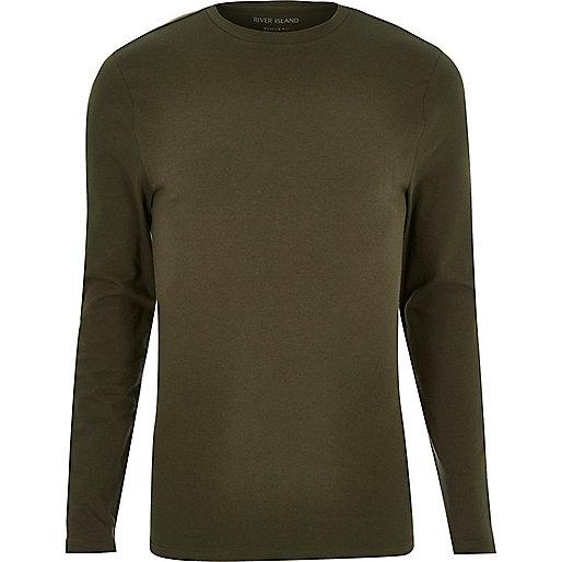 T-shirt kaki ajusté à manches longues