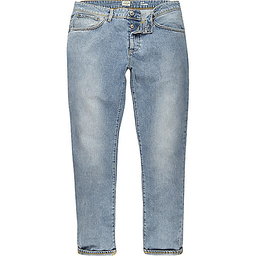 Jimmy – Hellblaue Jeans in Loose Fit im Used-Look