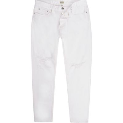 Jimmy witte distressed slim-fit smaltoelopende jeans