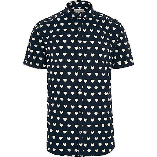 Navy heart print short sleeve shirt
