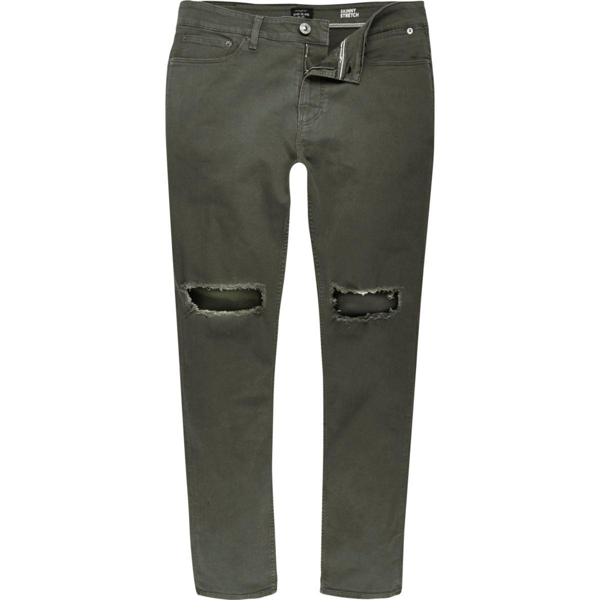 Dark green ripped Sid skinny jeans