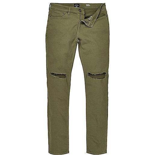 Khaki Sid ripped skinny jeans