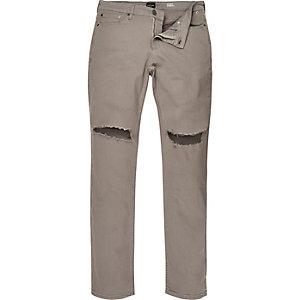 Sid – Zementgraue Skinny Jeans im Used-Look