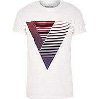White with purple triangle print t-shirt