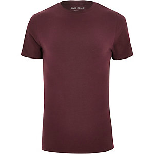 Burgundy muscle fit T-shirt