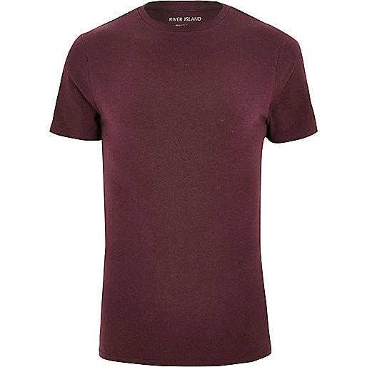 T-shirt bordeaux à coupe ajustée