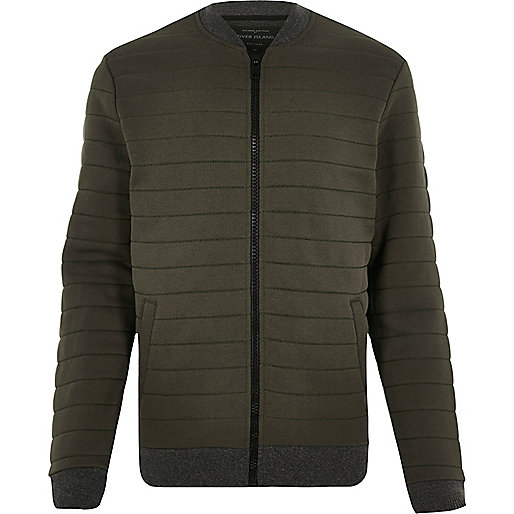Dark green quilted bomber jacket