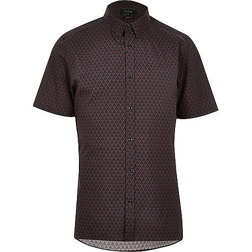 Black geometric print slim fit shirt