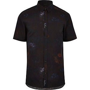 Zwart slim-fit overhemd met waterlelieprint