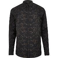 Black gravel print smart slim fit shirt