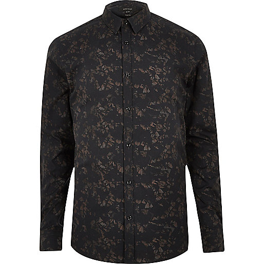 Black gravel print smart slim fit shirt